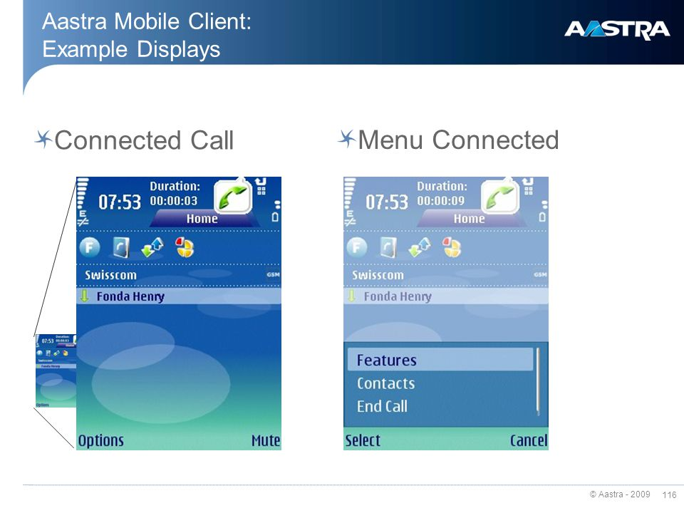 Aastra Mobile Client: Example Displays