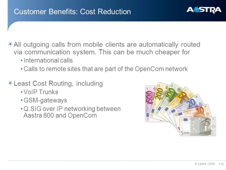 Customer Benefits: Cost Reduction