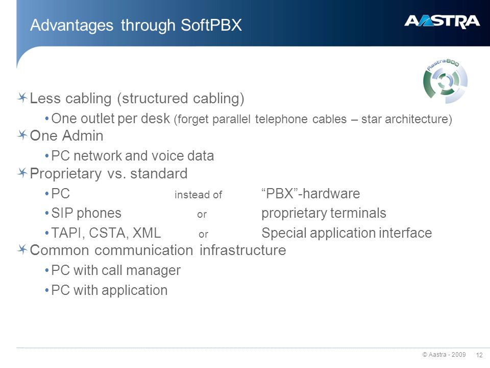 Advantages through SoftPBX