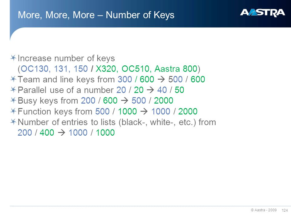 More, More, More – Number of Keys