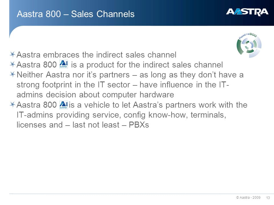 Aastra 800 – Sales Channels