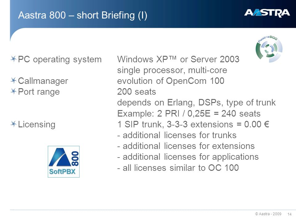 Aastra 800 – short Briefing (I)