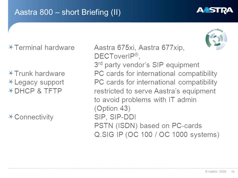 Aastra 800 – short Briefing (II)