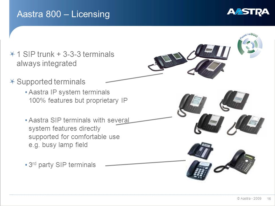 Aastra 800 – Licensing 1 SIP trunk + 3-3-3 terminals always integrated