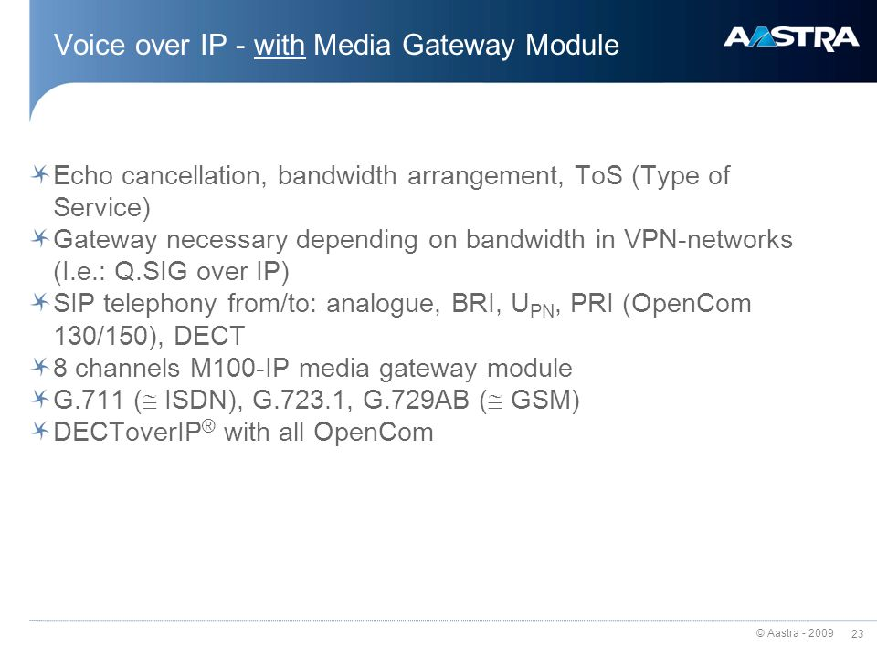 Voice over IP - with Media Gateway Module