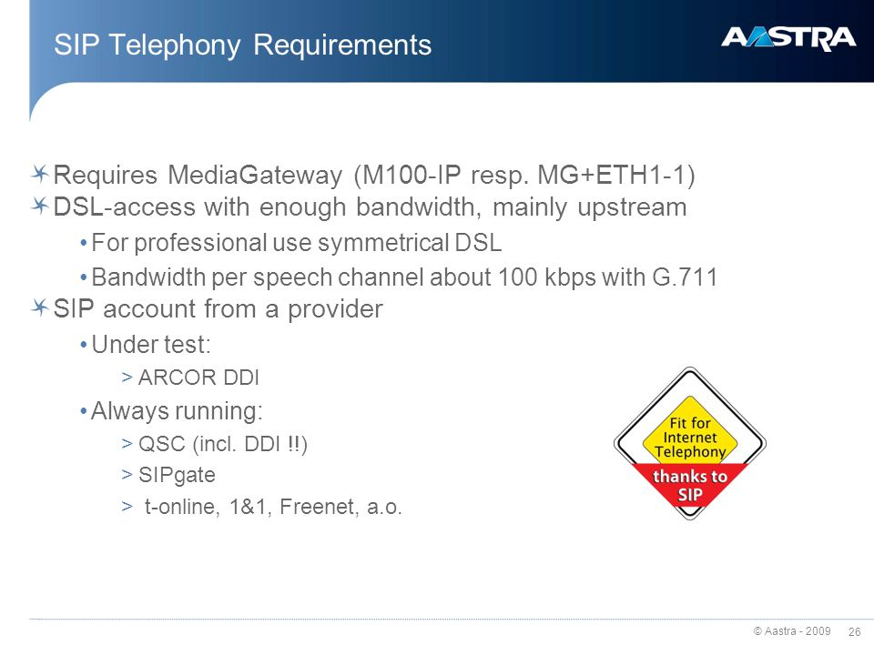 SIP Telephony Requirements