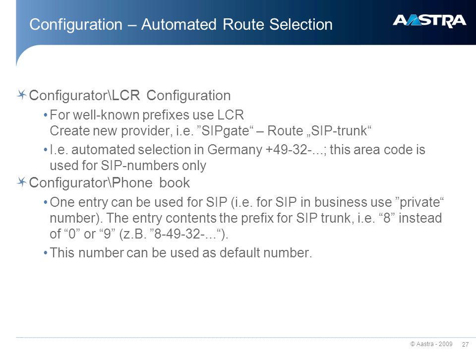 Configuration – Automated Route Selection