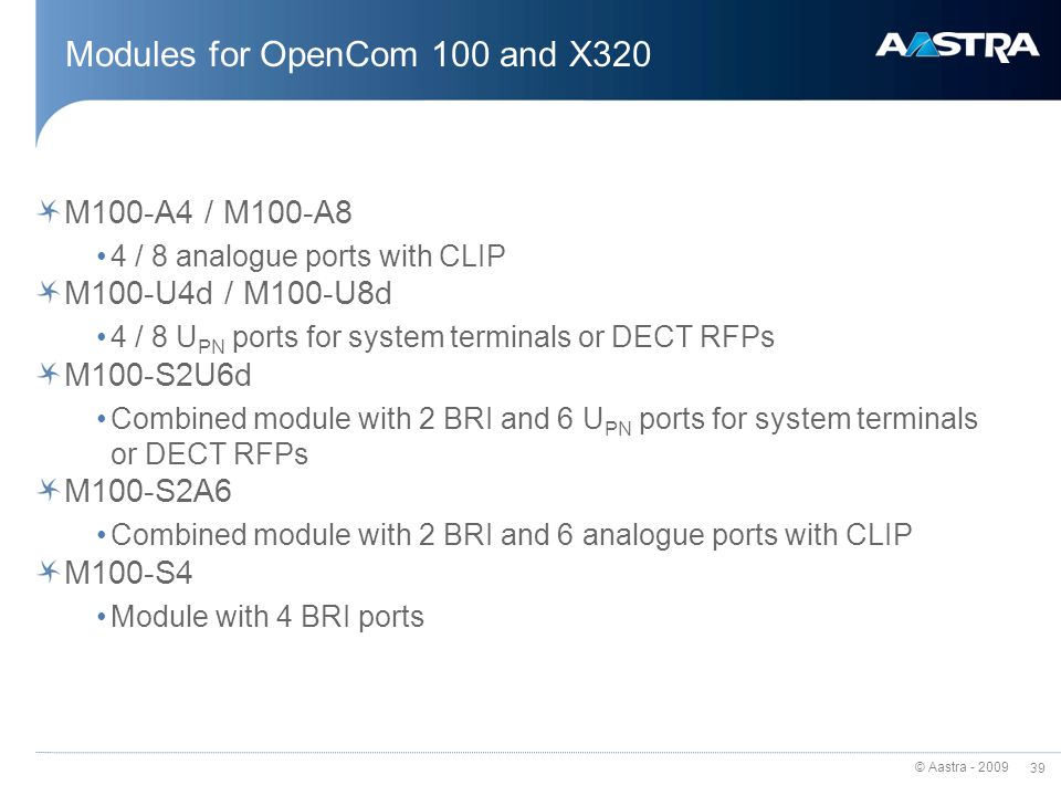 Modules for OpenCom 100 and X320