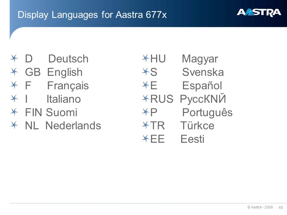 Display Languages for Aastra 677x