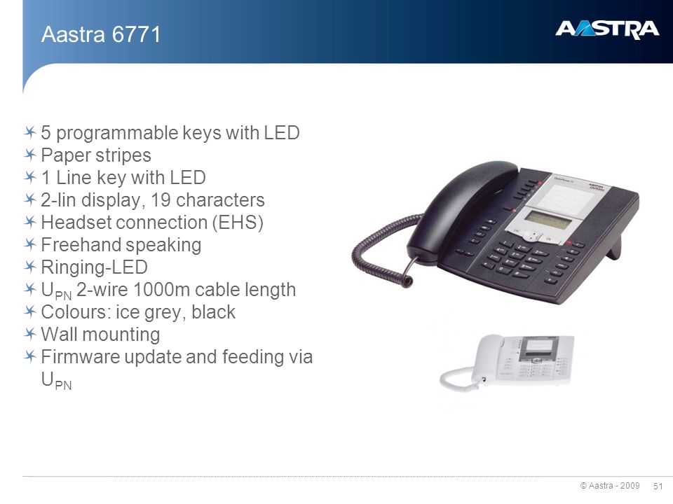 Aastra 6771 5 programmable keys with LED Paper stripes