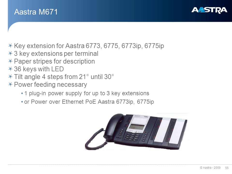 Aastra M671 Key extension for Aastra 6773, 6775, 6773ip, 6775ip