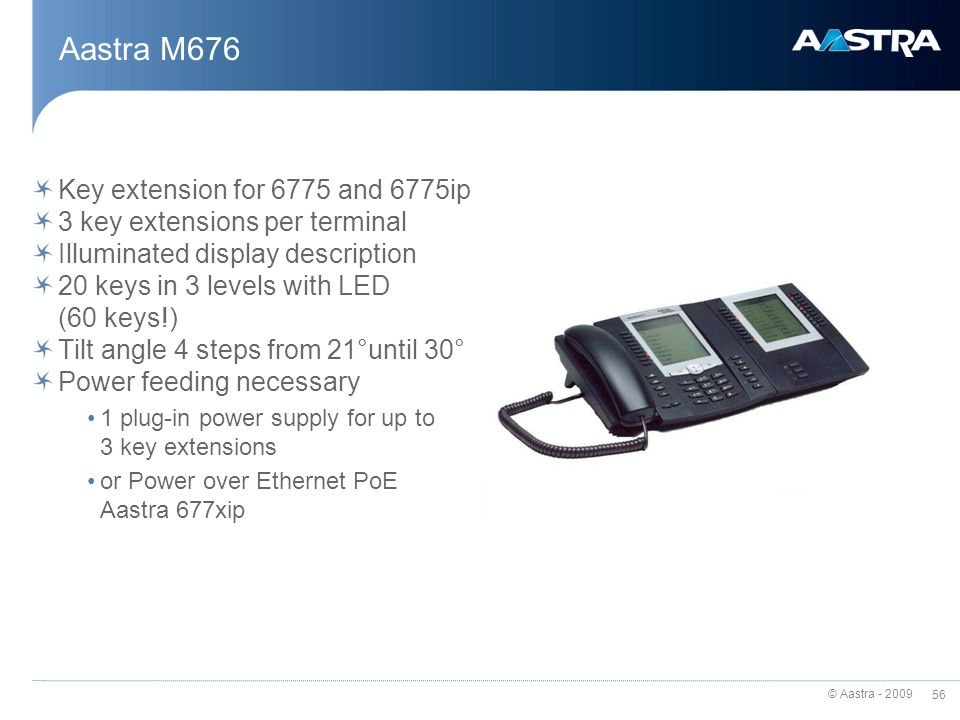 Aastra M676 Key extension for 6775 and 6775ip