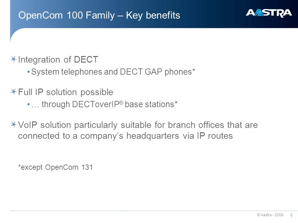 OpenCom 100 Family – Key benefits