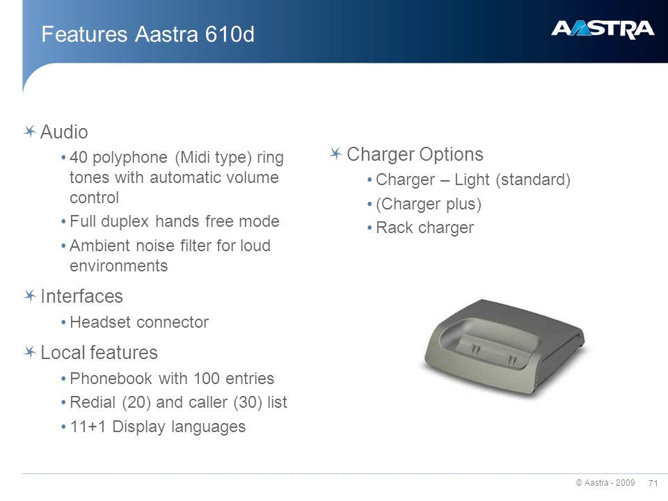 Features Aastra 610d Audio Charger Options Interfaces Local features