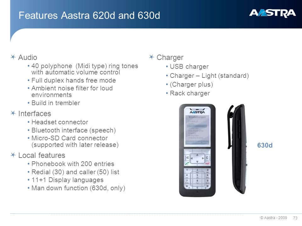 Features Aastra 620d and 630d Audio Interfaces Local features Charger