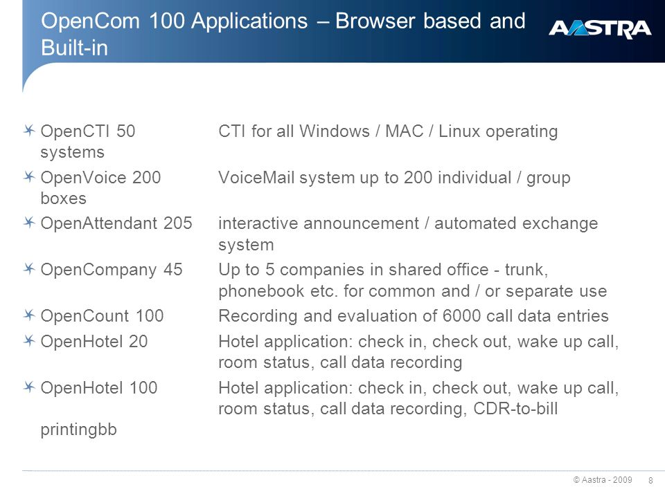 OpenCom 100 Applications – Browser based and Built-in