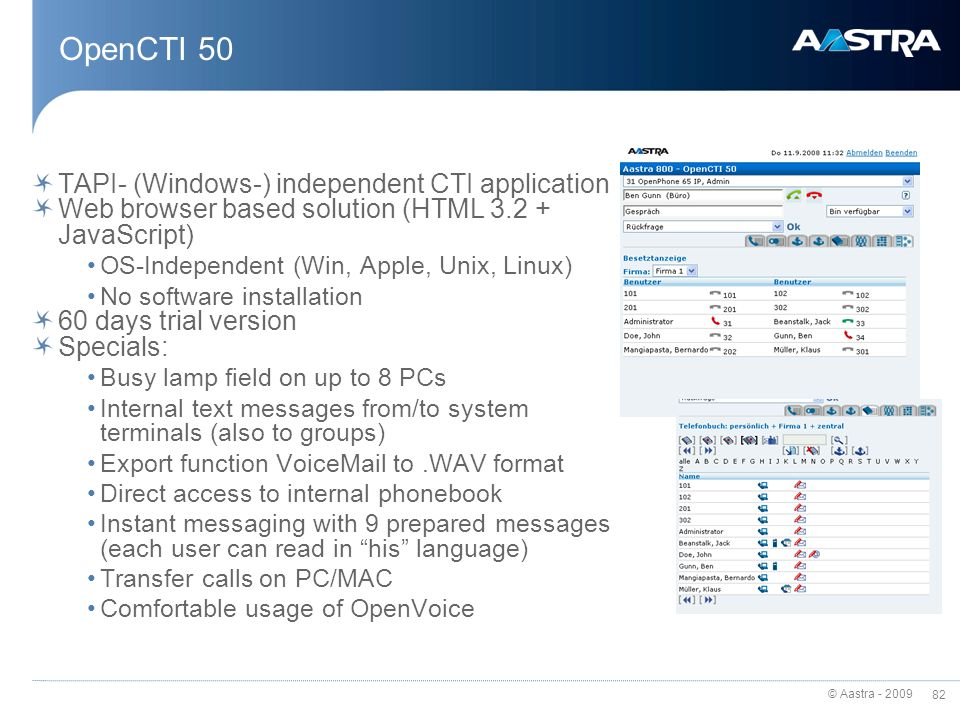 OpenCTI 50 TAPI- (Windows-) independent CTI application