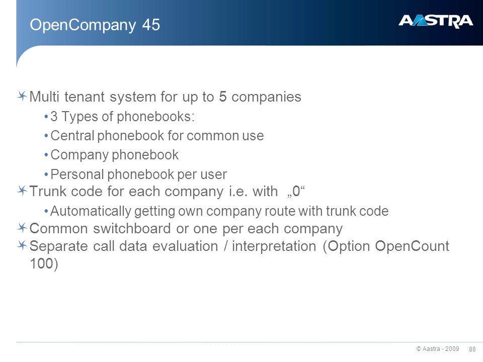 OpenCompany 45 Multi tenant system for up to 5 companies