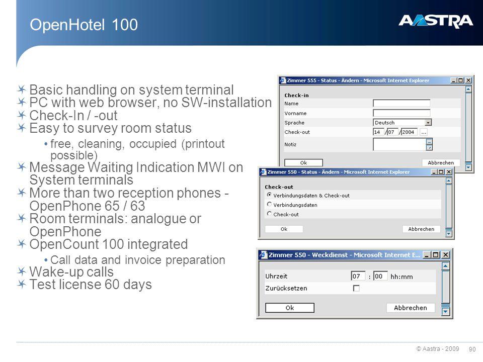 OpenHotel 100 Basic handling on system terminal