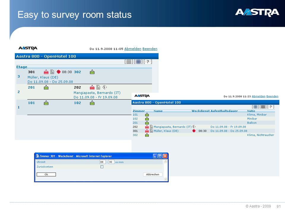 Easy to survey room status