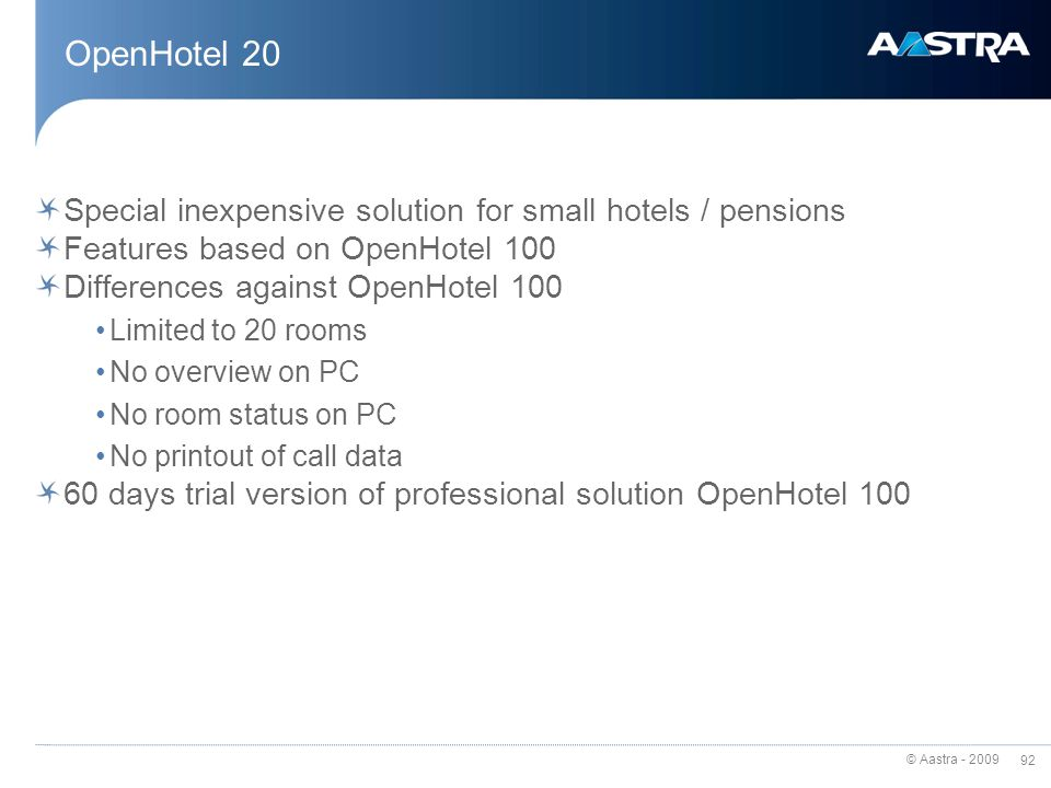 OpenHotel 20 Special inexpensive solution for small hotels / pensions