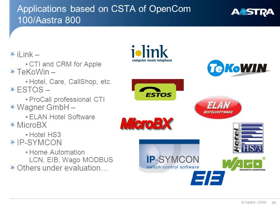 Applications based on CSTA of OpenCom 100/Aastra 800