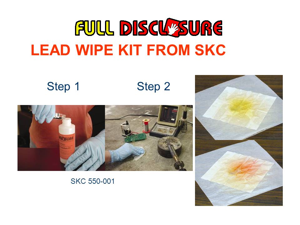 LEAD WIPE KIT FROM SKC Step 1 Step 2 Step 3 SKC 550-001