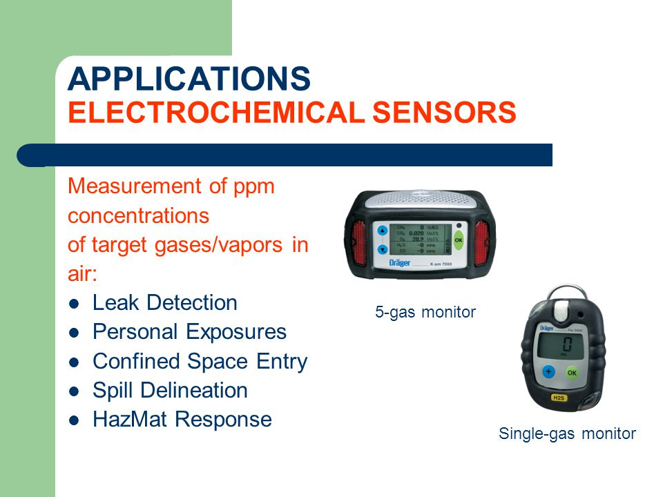 APPLICATIONS ELECTROCHEMICAL SENSORS