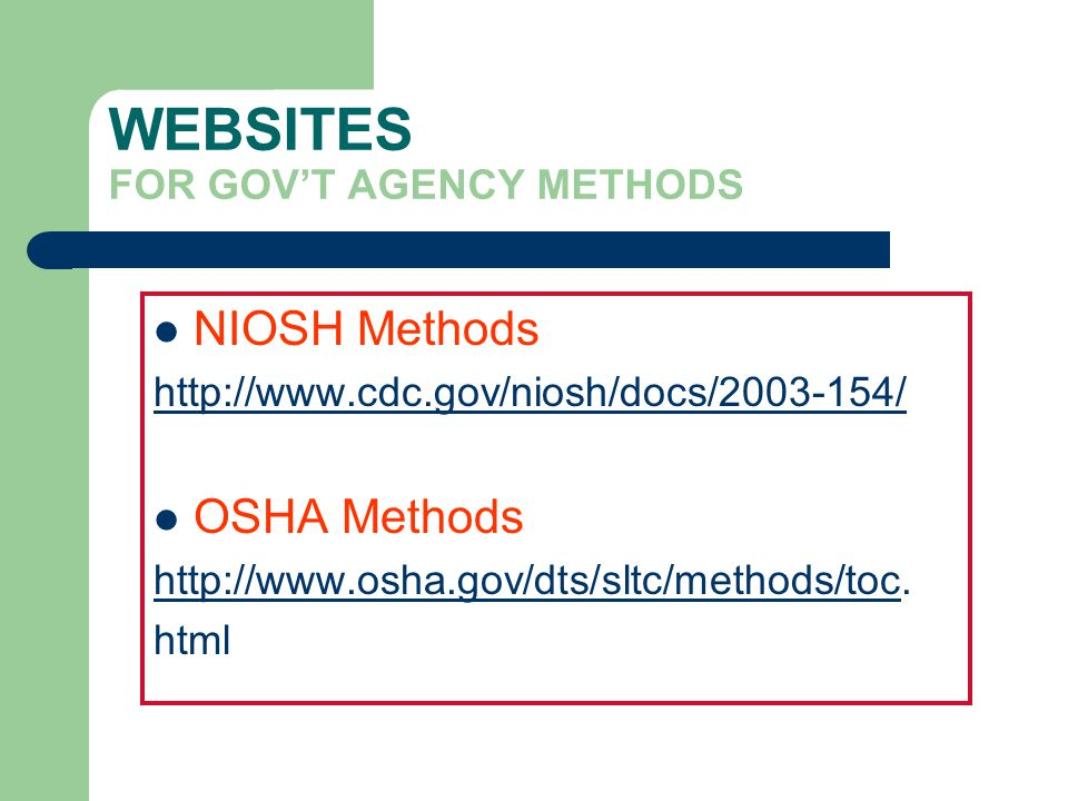WEBSITES FOR GOV'T AGENCY METHODS
