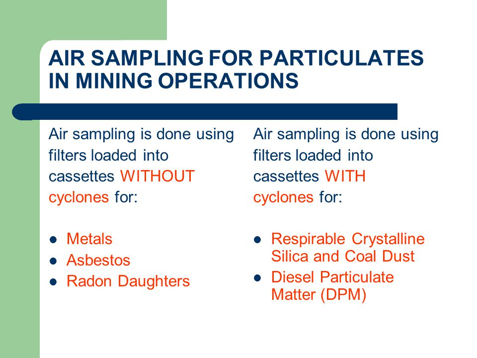 AIR SAMPLING FOR PARTICULATES IN MINING OPERATIONS