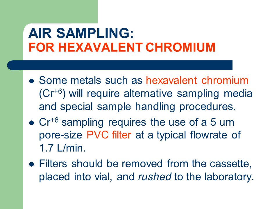AIR SAMPLING: FOR HEXAVALENT CHROMIUM