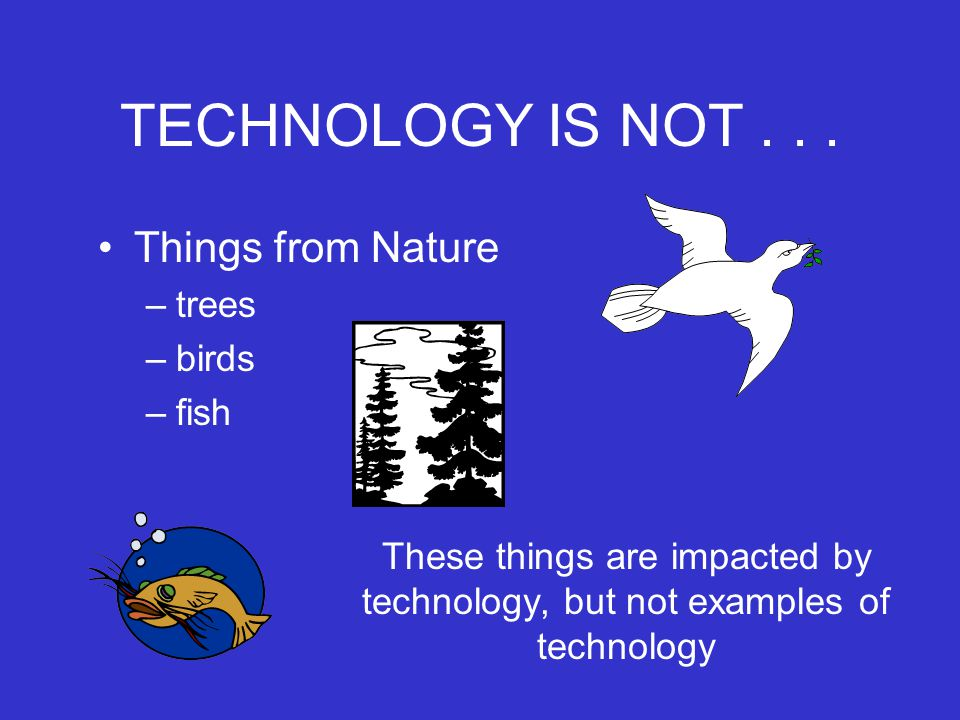 TECHNOLOGY IS NOT Things from Nature trees birds fish