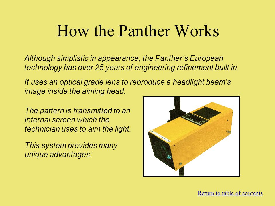 How the Panther Works Although simplistic in appearance, the Panther's European technology has over 25 years of engineering refinement built in.