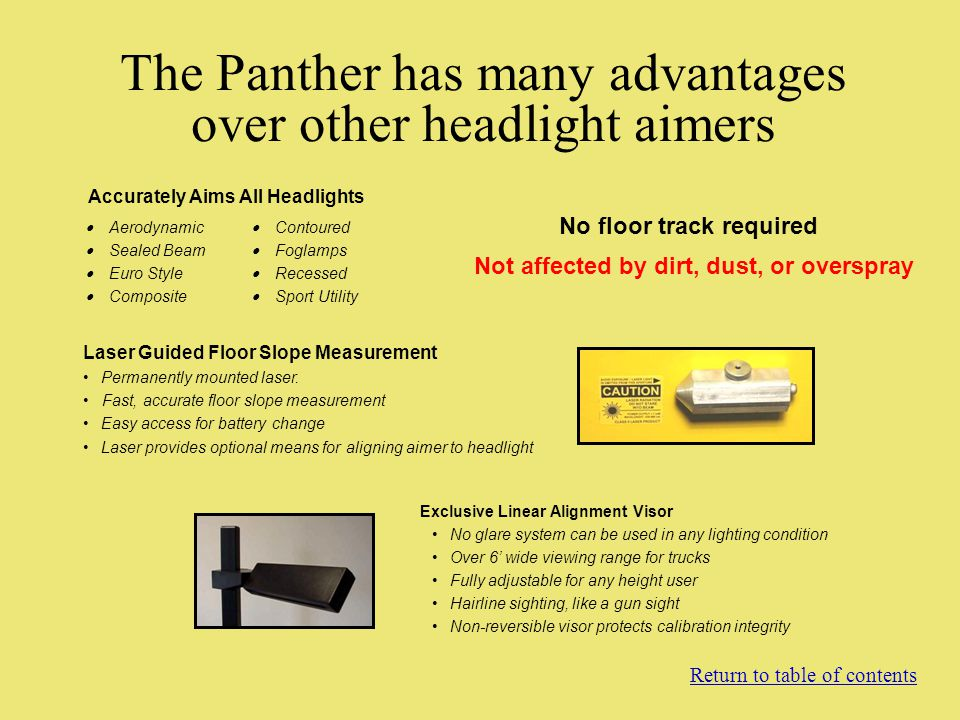 The Panther has many advantages over other headlight aimers