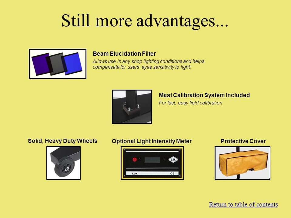 Solid, Heavy Duty Wheels Optional Light Intensity Meter