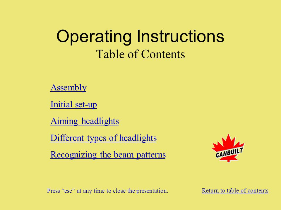 Operating Instructions Table of Contents