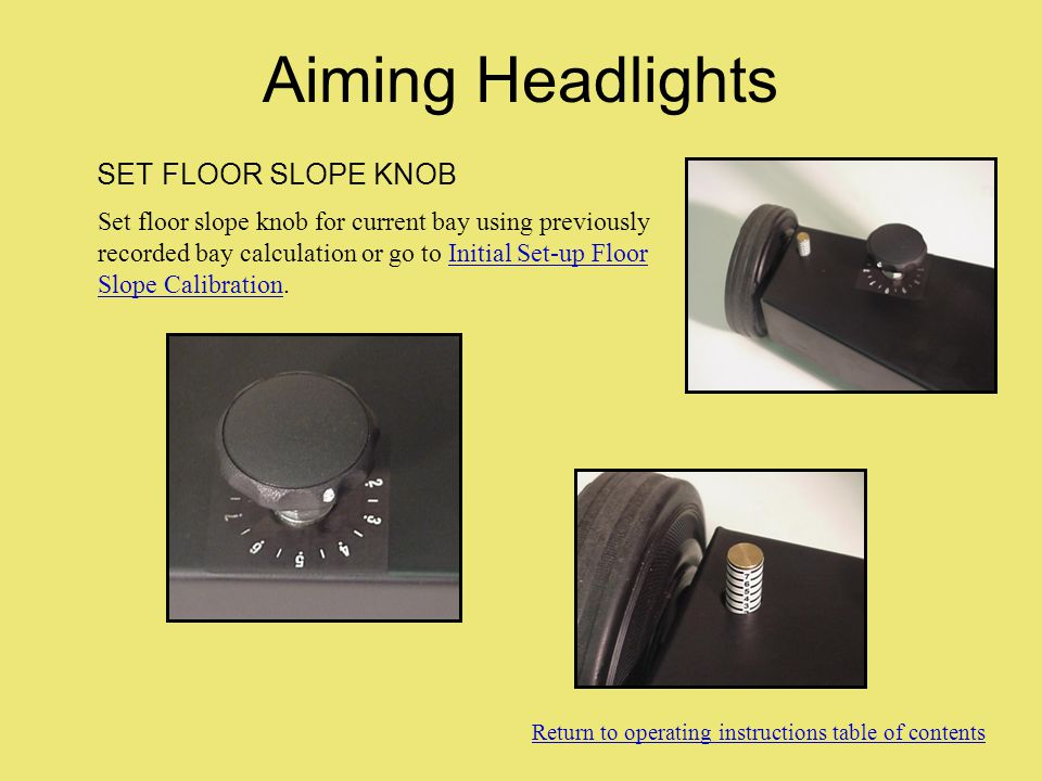 Aiming Headlights SET FLOOR SLOPE KNOB