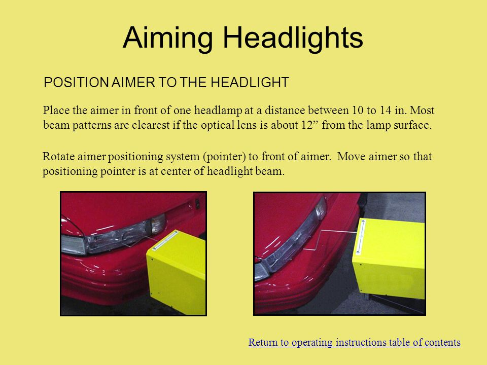 Aiming Headlights POSITION AIMER TO THE HEADLIGHT