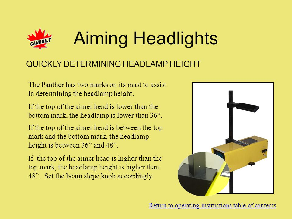 Aiming Headlights QUICKLY DETERMINING HEADLAMP HEIGHT
