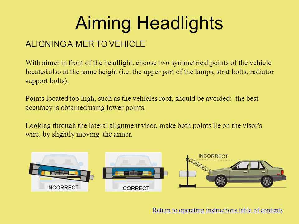 Aiming Headlights ALIGNING AIMER TO VEHICLE