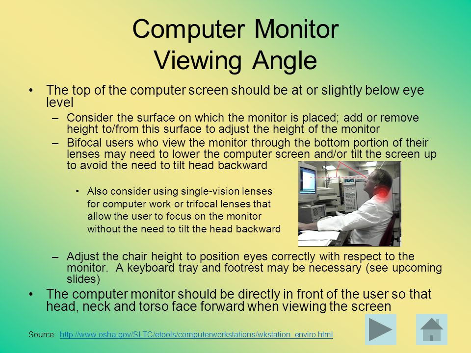 Computer Monitor Viewing Angle