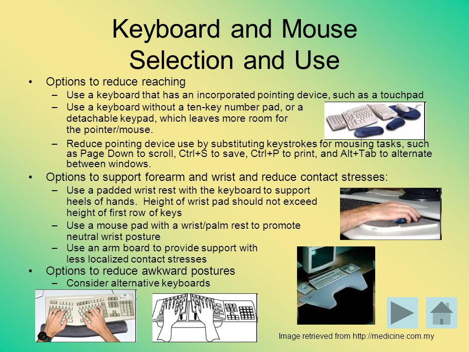 Keyboard and Mouse Selection and Use
