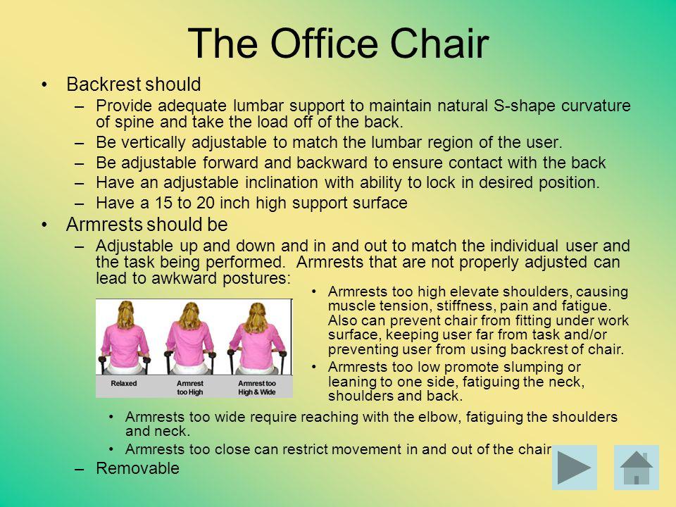 The Office Chair Backrest should Armrests should be