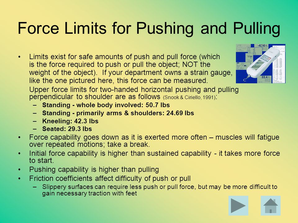 Force Limits for Pushing and Pulling