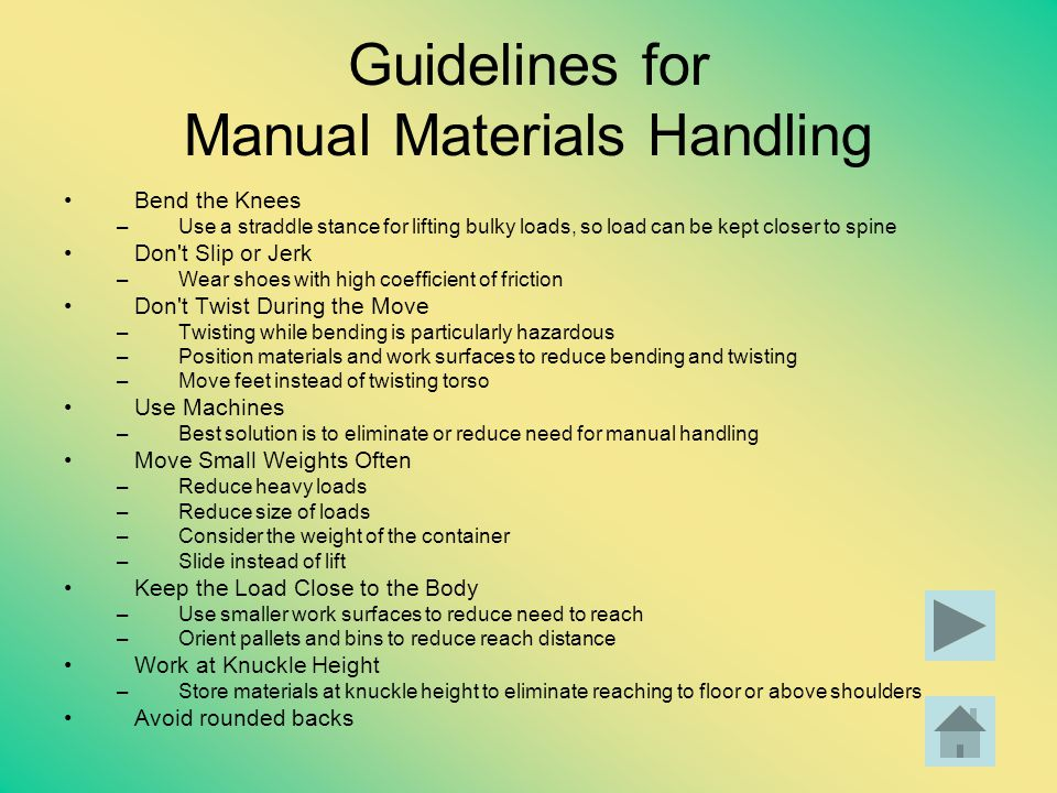 Guidelines for Manual Materials Handling