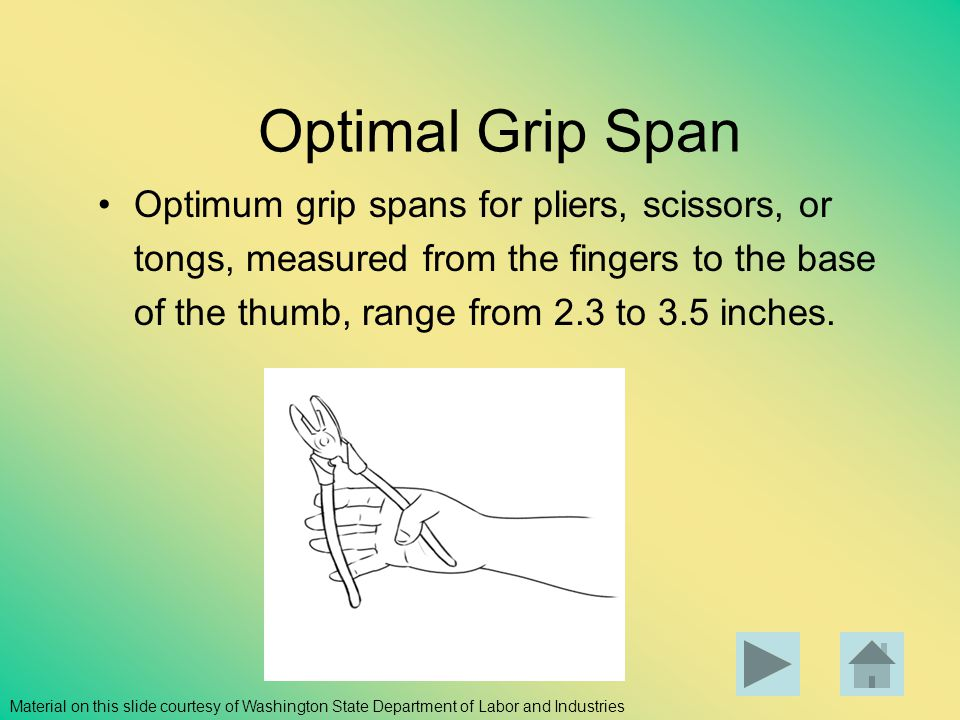 Optimal Grip Span Optimum grip spans for pliers, scissors, or