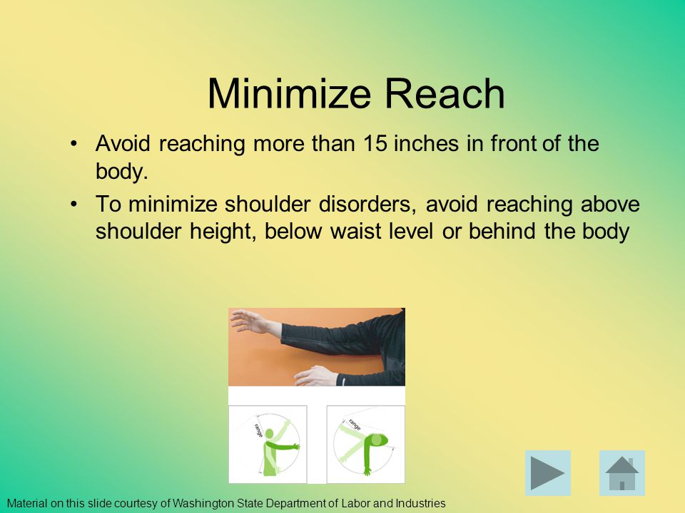 Minimize Reach Avoid reaching more than 15 inches in front of the body.