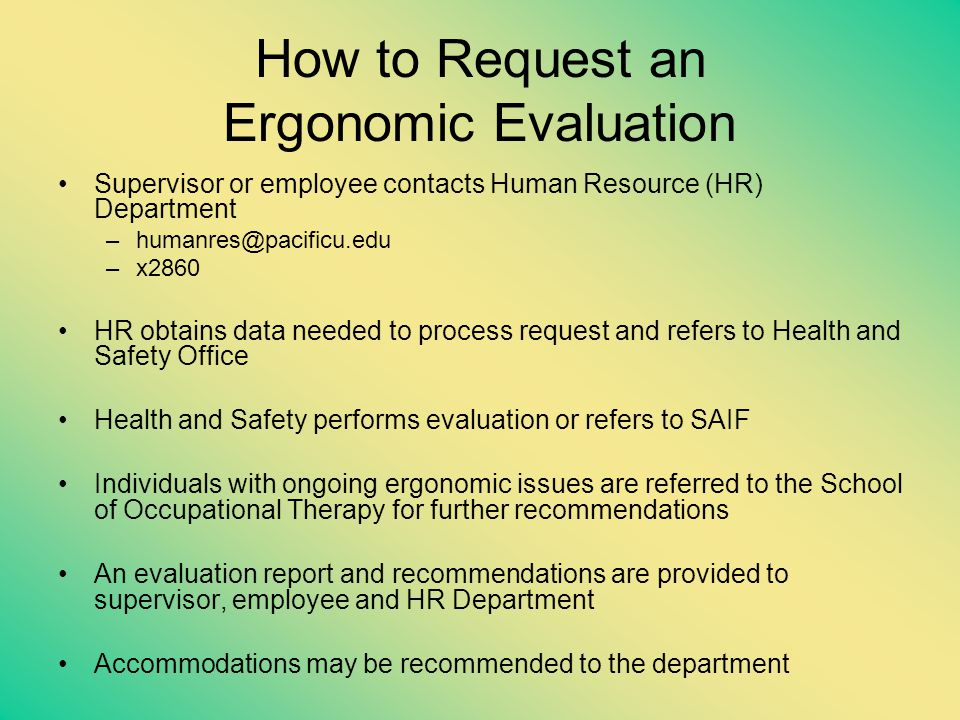How to Request an Ergonomic Evaluation