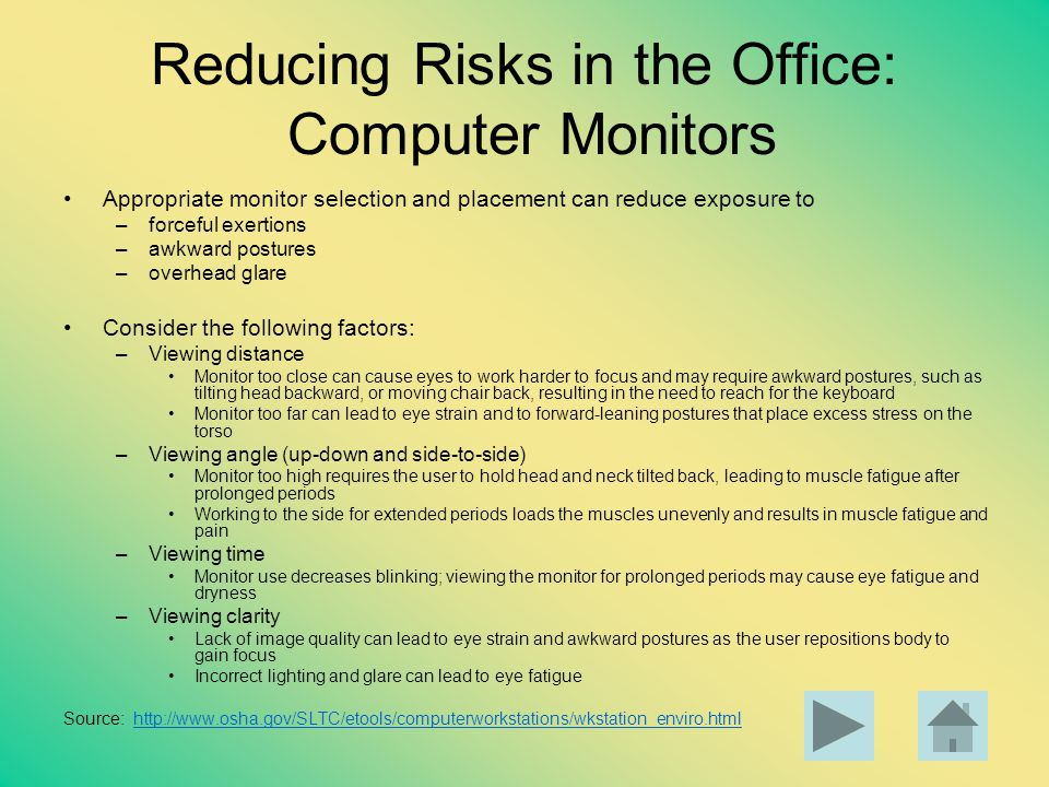 Reducing Risks in the Office: Computer Monitors