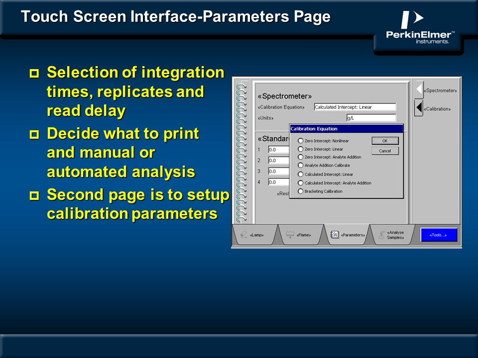Touch Screen Interface-Parameters Page